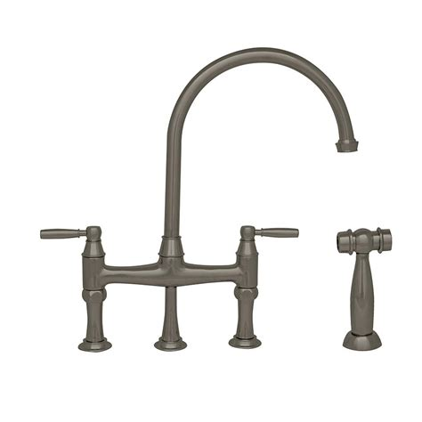 bridge kitchen faucet with side spray whitehaus collection queenhaus 2 handle bridge kitchen