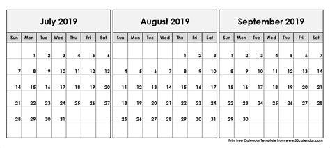 print calendar july august september ten