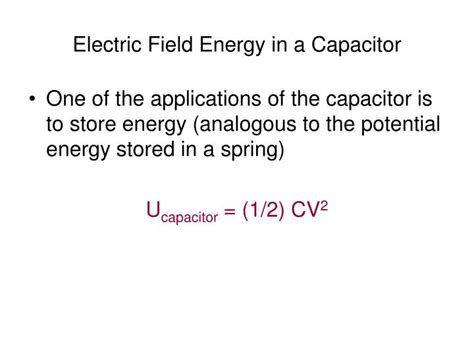 capacitor stores energy in electric field ppt chapter 17 powerpoint presentation id 1215033