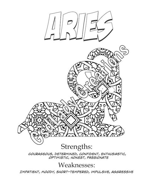 printable zodiac coloring pages astrology print coloring page aries zodiac art print