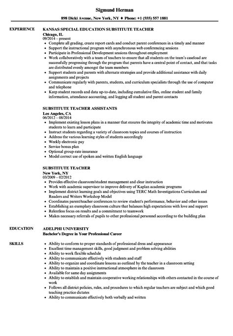 Resume For Substitute by Substitute Resume Gallery Cv Letter And