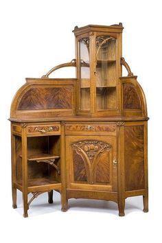 late  vintage antique oak wood murphy bed  mirror