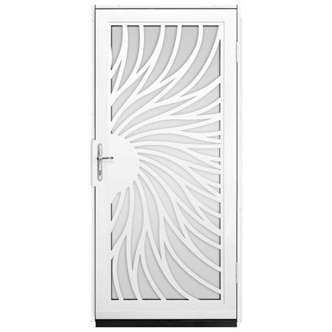 Glass Security Door Unique Home Designs 36 In X 80 In Solstice White Surface Mount Steel Security Door With