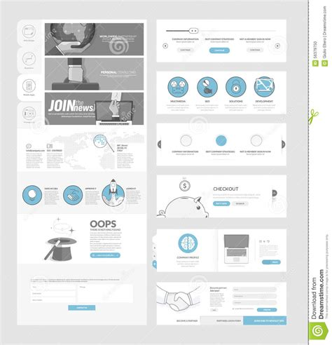 page layout and design concepts website templates elements for company portfolio vector