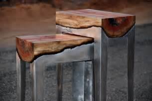 Designer hilla shamia fuses cast aluminum and tree trunks to create one of a kind furniture