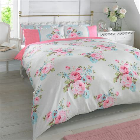 Floral Bed Set Duvet Quilt Cover With Pillowcase Bedding Set Floral Rosie Pink Blue White Roses Ebay