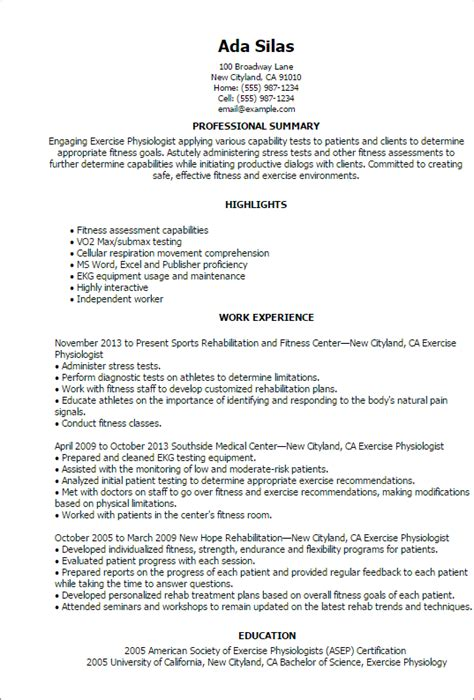 Sample Resume Objectives Maintenance by Professional Exercise Physiologist Templates To Showcase