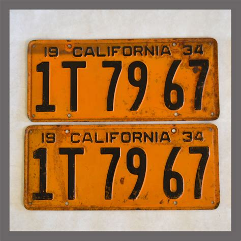 Vanity Plates For Sale by 1934 California Yom License Plates For Sale Original