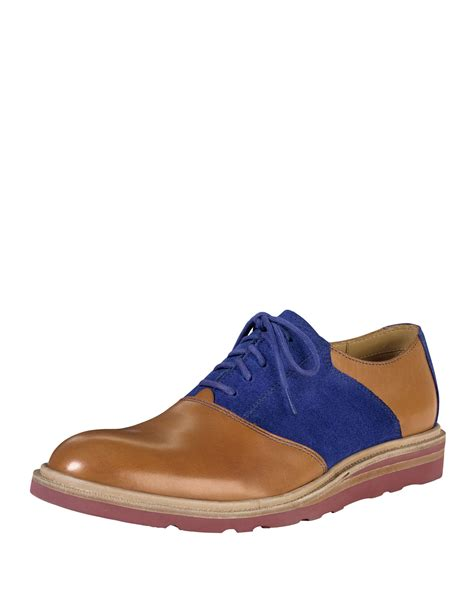 cole haan wedge saddle oxford in brown for lyst
