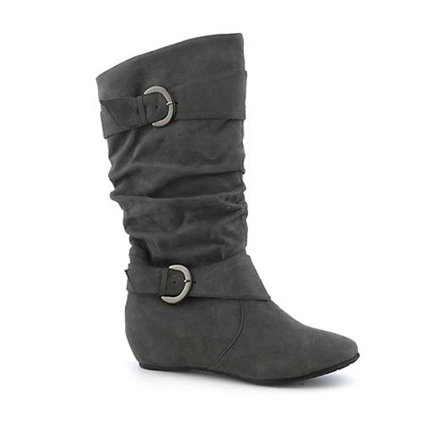 shiekh candies 15d s grey suede mid calf boot