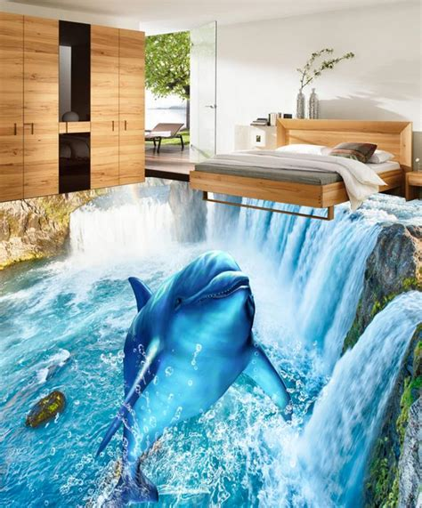 dolphin wallpaper for bathroom custom photo waterfall dolphin 3d floor wallpaper pvc