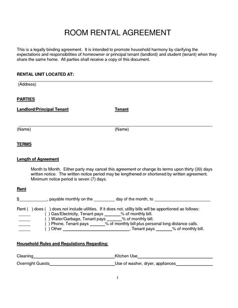 rent a room agreement template best photos of simple rental agreement form simple