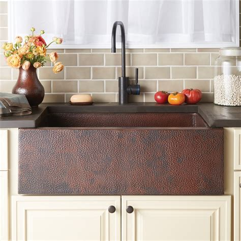 kitchens with copper sinks copper farmhouse kitchen sink trails