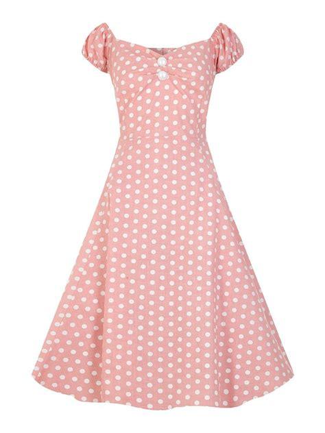 cabaret vintage vintage clothing vintage style dresses vintage 50s style dolores pastel pink polka dot swing