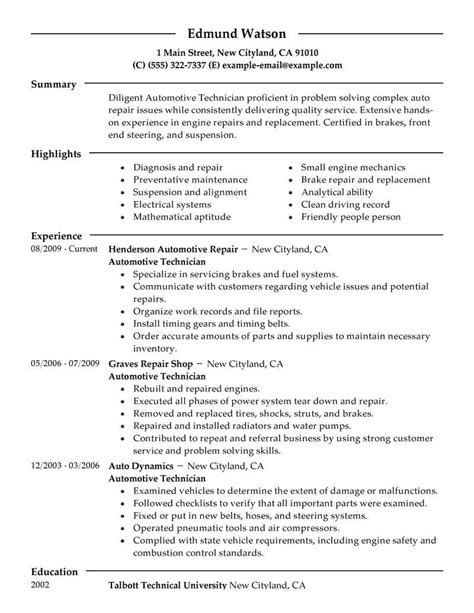 resume exle for automotive mechanic best automotive technician resume exle livecareer