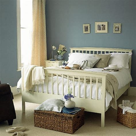 blue bedroom with painted wooden bed housetohome co uk