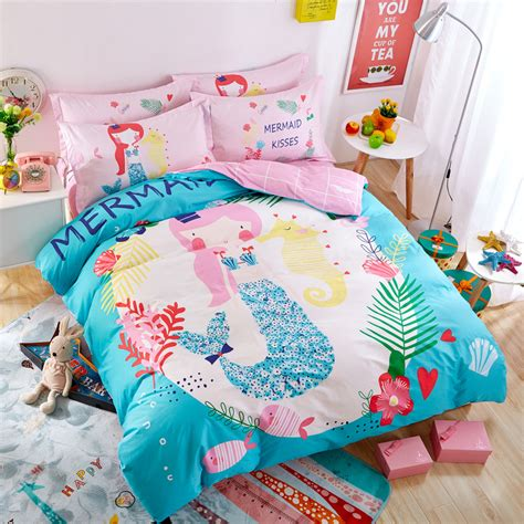 cartoon beautiful mermaid seaworld blue 3 4pcs bedding