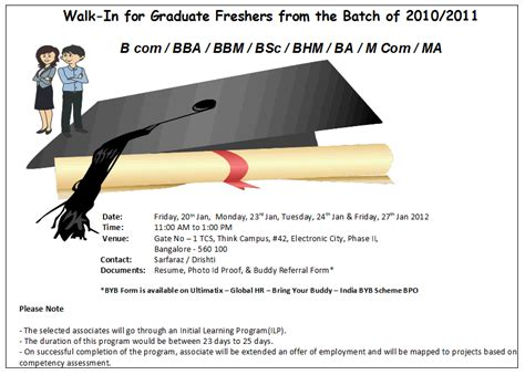 Walkins For Mba Freshers by Walk In Tcs For Graduate Freshers 2010 2011 Batch