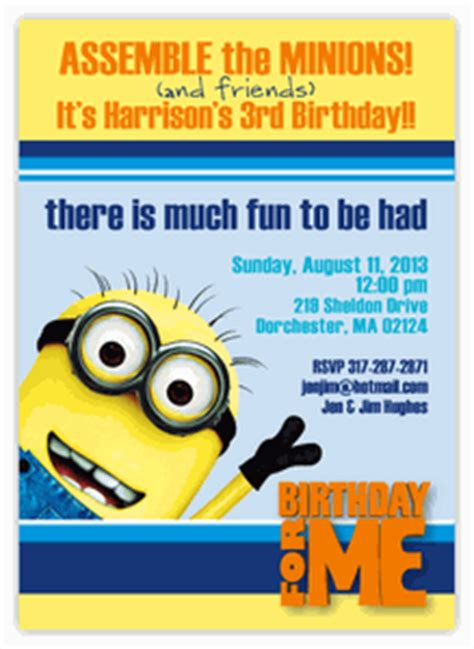 invite christmas minion despicable me minion birthday invitation