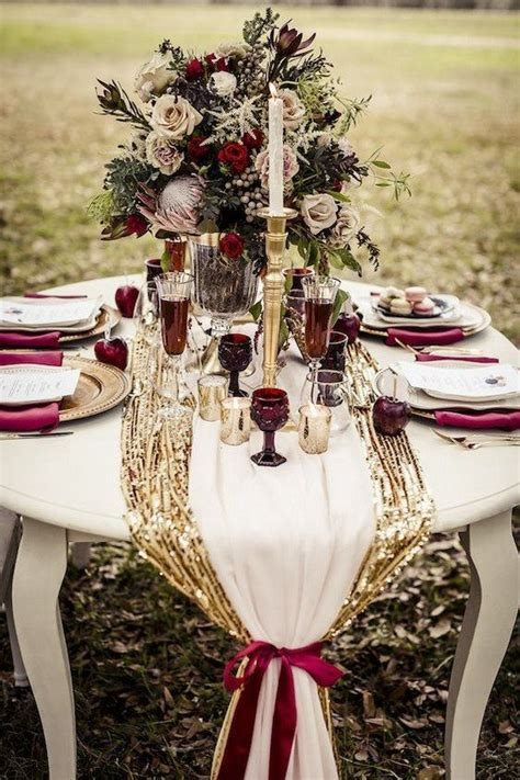 30 Elegant Fall Burgundy and Gold Wedding Ideas   Wedding