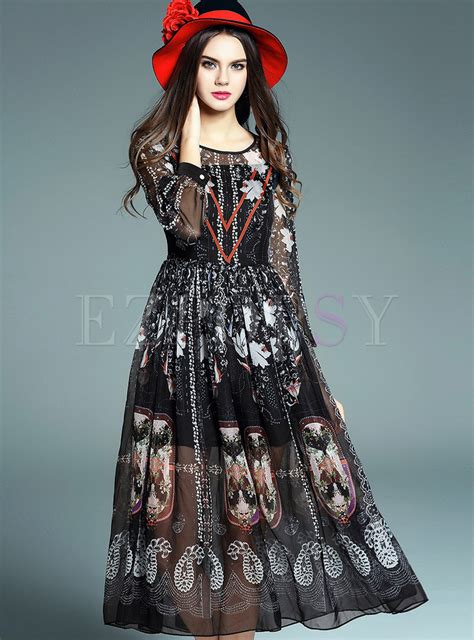 Longdress Print print chiffon dress ezpopsy