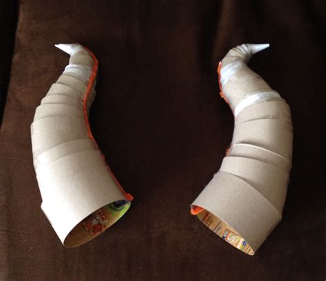 How To Make Paper Mache Horns - diy horns made out of cereal boxes and