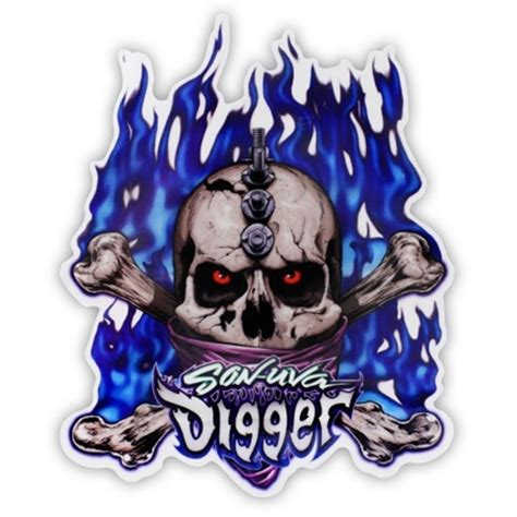 son of grave digger monster truck son uva digger skull sticker