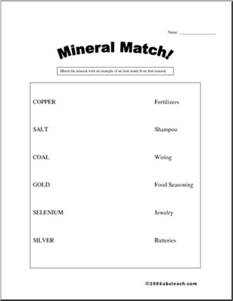 mineral worksheets for elementary students worksheet mineral matching elementary abcteach