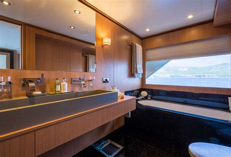 electra superyacht master cabins bathroom yacht charter motor yacht go in the med caribbean luxury