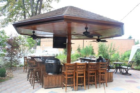 Backyard Pub And Grill Handmade Primo Grill Outdoor Kitchen And Bar By Deck