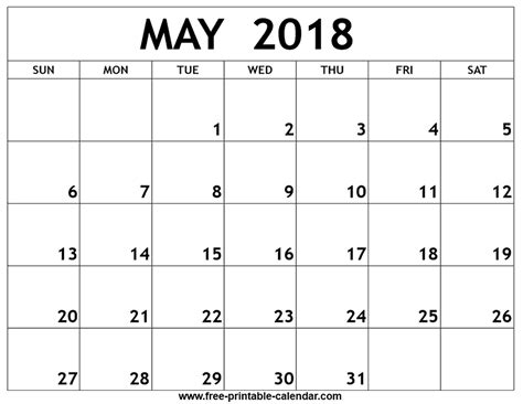 printable calendar for may 2018 may 2018 printable calendar