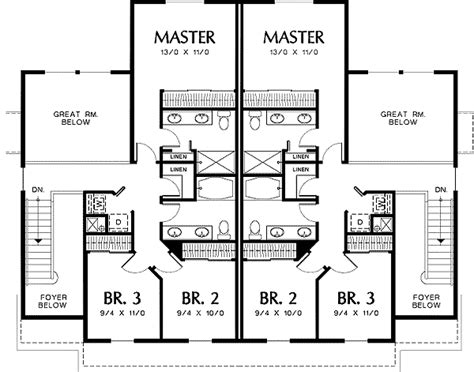 two story duplex plans two story great room in quiet duplex 69380am