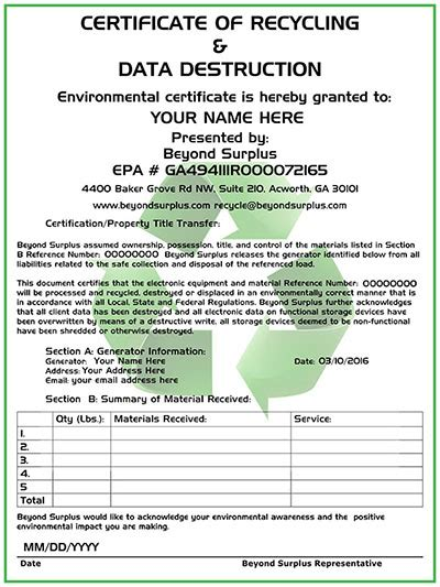 certificate of recycling template computer disposal electronics recycling free
