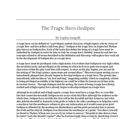 Oedipus Tragic Essay by The Tragic Oedipus International Baccalaureate World Literature Marked By Teachers