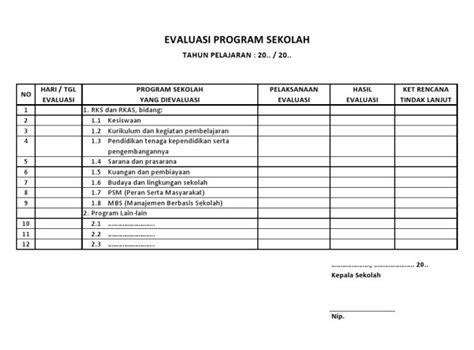 contoh format evaluasi diri guru sd contoh buku program evaluasi sd contoh o