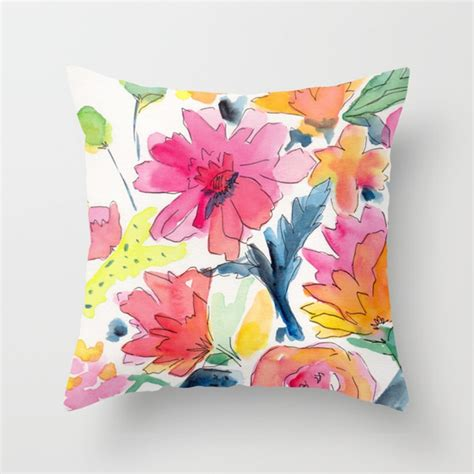 Floral Pillows by Floral Watercolor Illustration Pattern Throw Pillow By Dro Society6