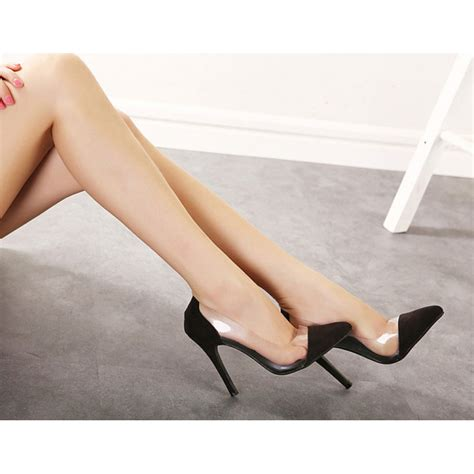 high heels with black suede clear pvc high heel court shoes