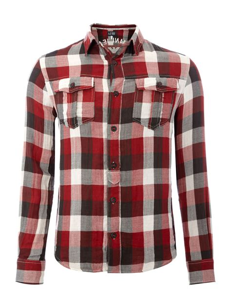 armani jeans pattern shirt burgundy armani jeans flannel neck checked shirt in red for men
