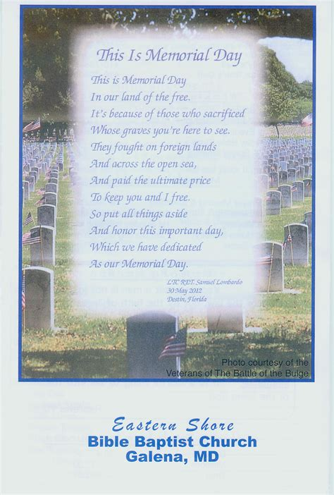 vet s memorial day poem on church bulletin battle of the