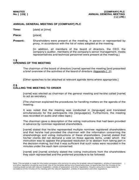 Annual General Meeting Agenda Sample Free Download