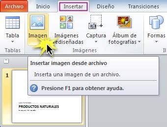 como insertar imagenes sin fondo en powerpoint power point 2010 insertar una imagen desde un archivo