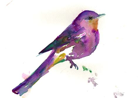 Bicycle Home Decor by Print Of Watercolor Painting Purple Bird 9 X 12 Original