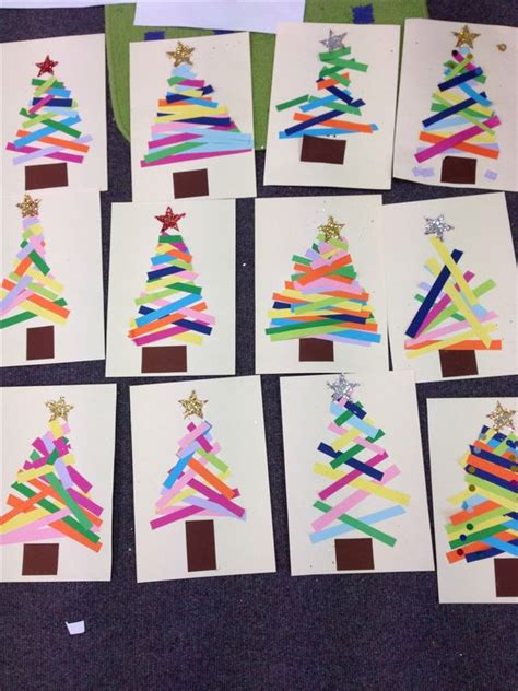 craft with paper strips kindergarten do this as a center tree paper