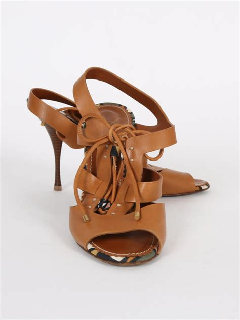 yves laurent strappy sandals yves laurent brown leather strappy heel sandals 38