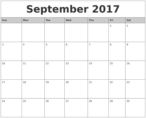 Printable Monthly Calendars September 2017 Monthly Calendar Printable
