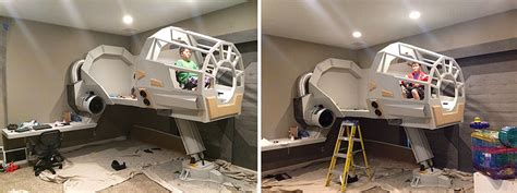 millennium falcon bed creative dad makes his son an epic star wars millennium falcon bed