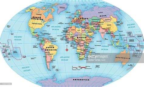 world map continent and country labels stock illustration