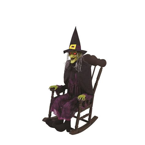 home accents holiday   animated witch  rocking