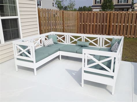 White Wood Patio Furniture white weatherly outdoor sectional diy projects