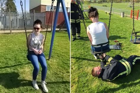 sex on the swing teenager stuck in child s swing has to be removed by